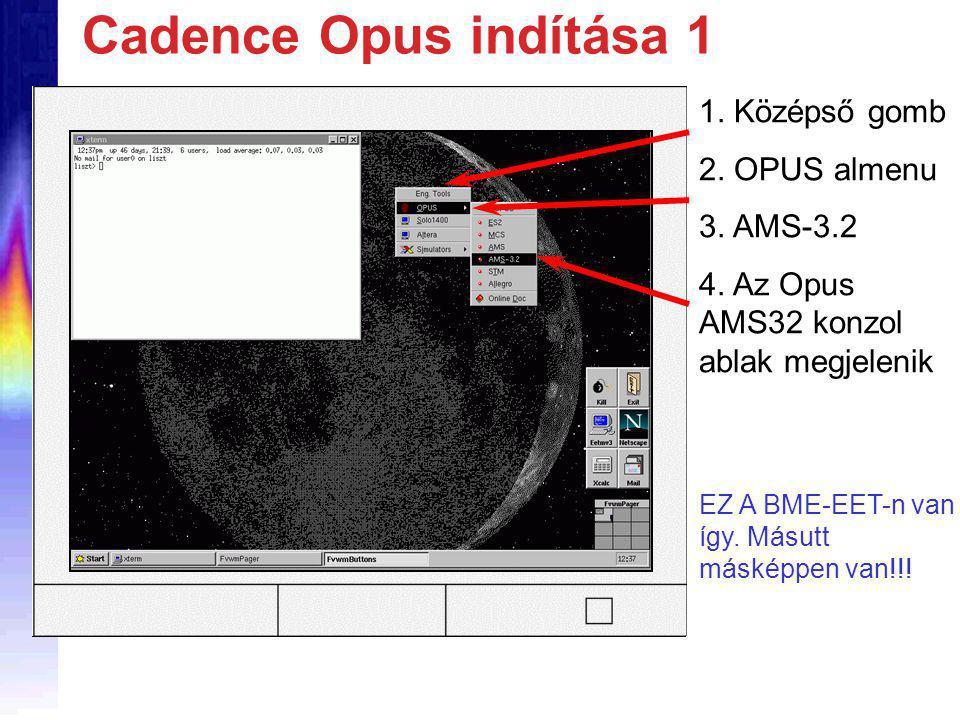 Cadence Opus indítása 1 1. Középső gomb 2. OPUS almenu 3.