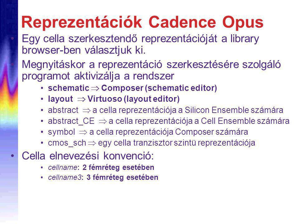 Reprezentációk Cadence Opus Egy cella szerkesztendő reprezentációját a library browser-ben választjuk ki.
