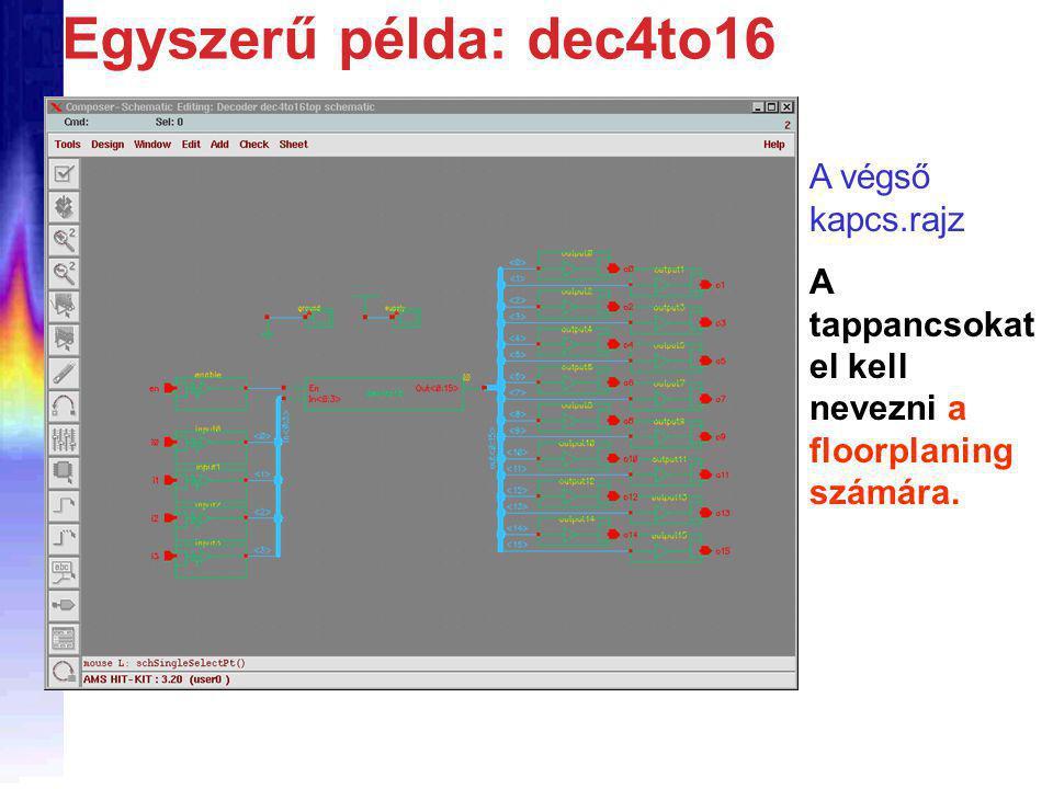 Egyszerű példa: dec4to16 A végső kapcs.rajz A tappancsokat el kell nevezni a floorplaning számára.
