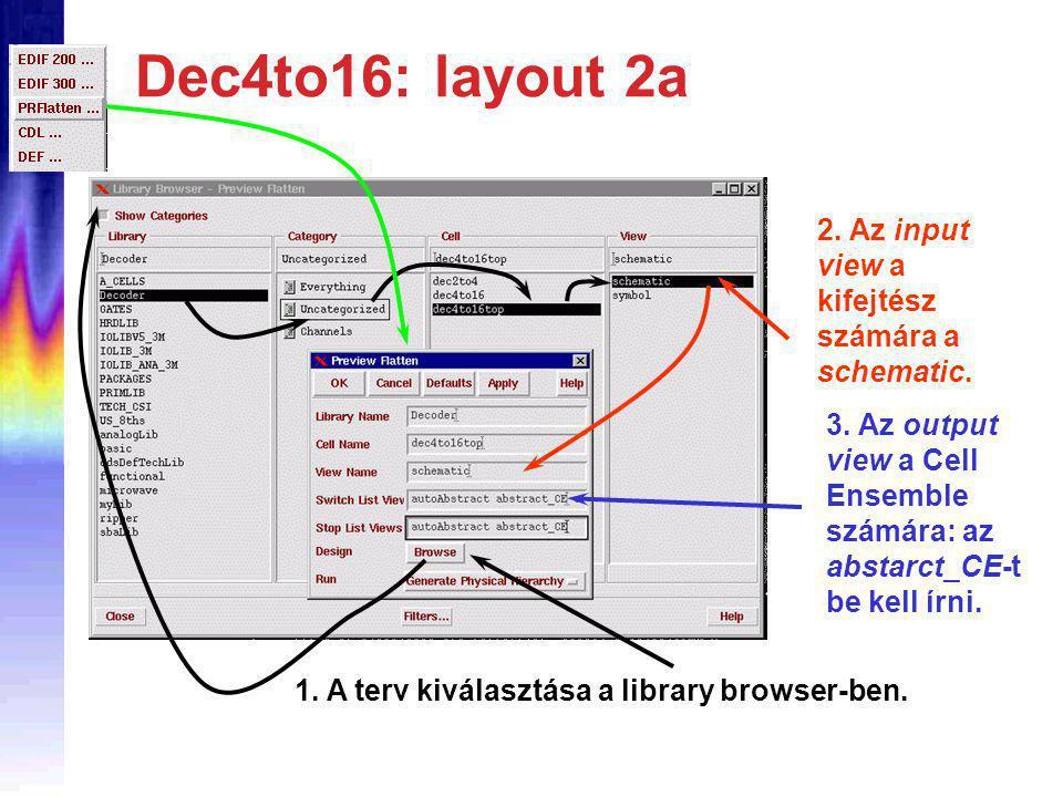 Dec4to16: layout 2a 3. Az output view a Cell Ensemble számára: az abstarct_CE-t be kell írni.