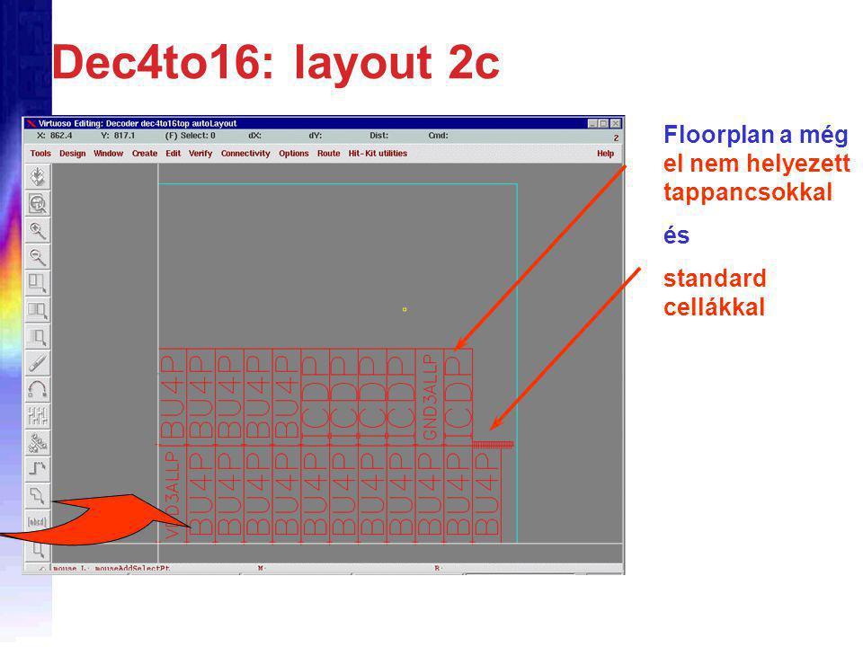 Dec4to16: layout 2c Floorplan a még el nem helyezett tappancsokkal és standard cellákkal