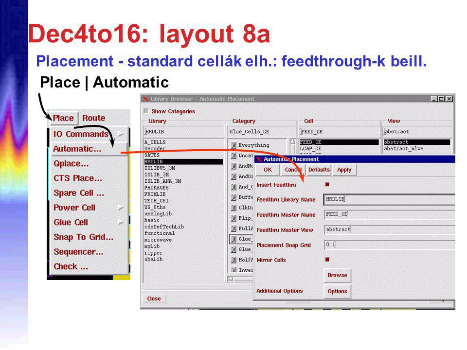 Dec4to16: layout 8a Placement - standard cellák elh.: feedthrough-k beill. Place | Automatic