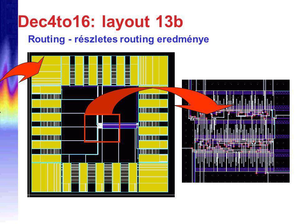 Dec4to16: layout 13b Routing - részletes routing eredménye