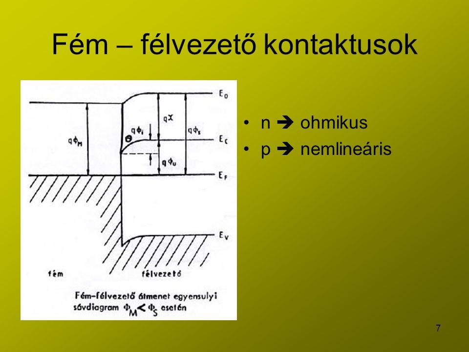 7 Fém – félvezető kontaktusok n  ohmikus p  nemlineáris