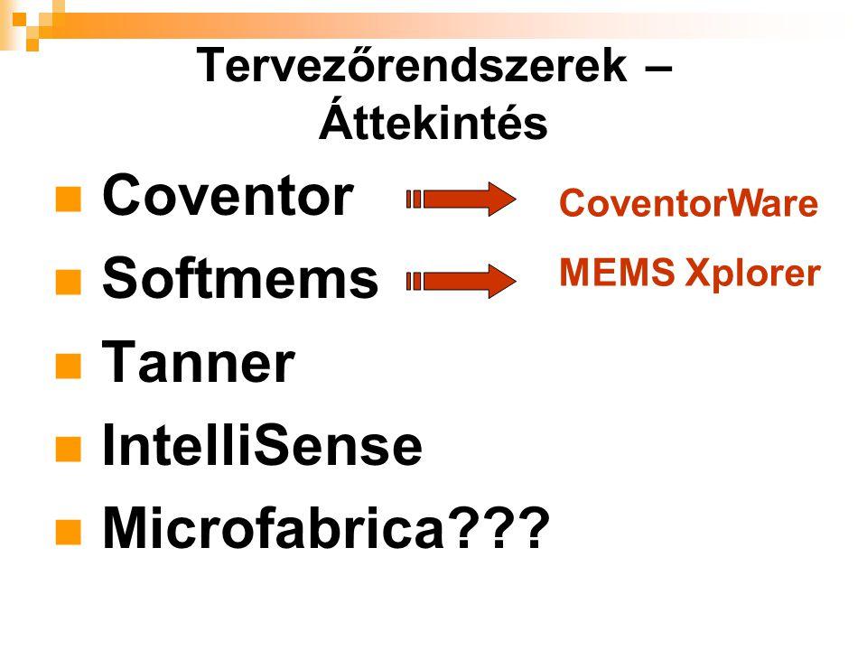 Coventor Softmems Tanner IntelliSense Microfabrica??? Tervezőrendszerek – Áttekintés CoventorWare MEMS Xplorer