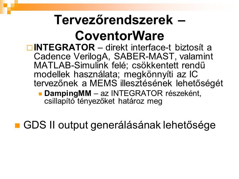  INTEGRATOR – direkt interface-t biztosít a Cadence VerilogA, SABER-MAST, valamint MATLAB-Simulink felé; csökkentett rendű modellek használata; megkö