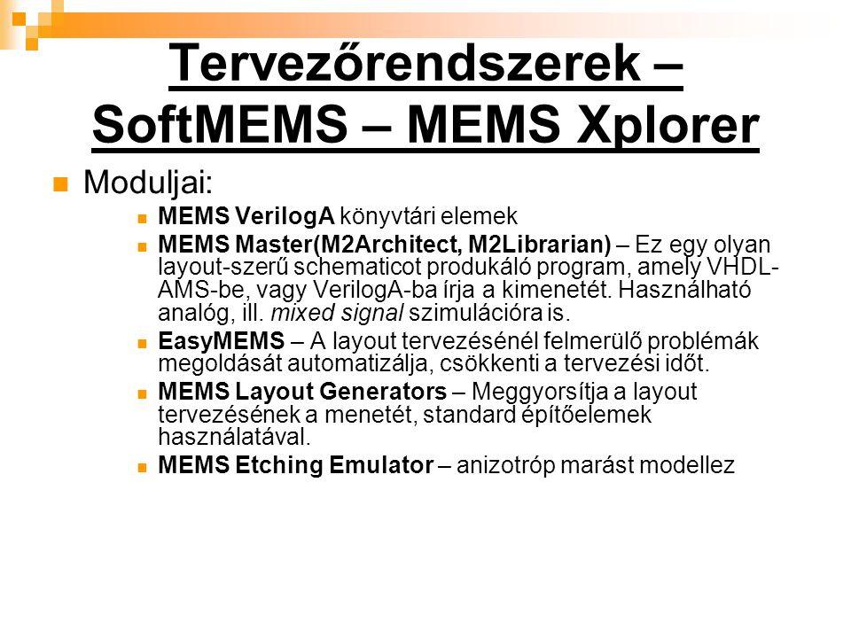 Tervezőrendszerek – SoftMEMS – MEMS Xplorer Moduljai: MEMS VerilogA könyvtári elemek MEMS Master(M2Architect, M2Librarian) – Ez egy olyan layout-szerű schematicot produkáló program, amely VHDL- AMS-be, vagy VerilogA-ba írja a kimenetét.