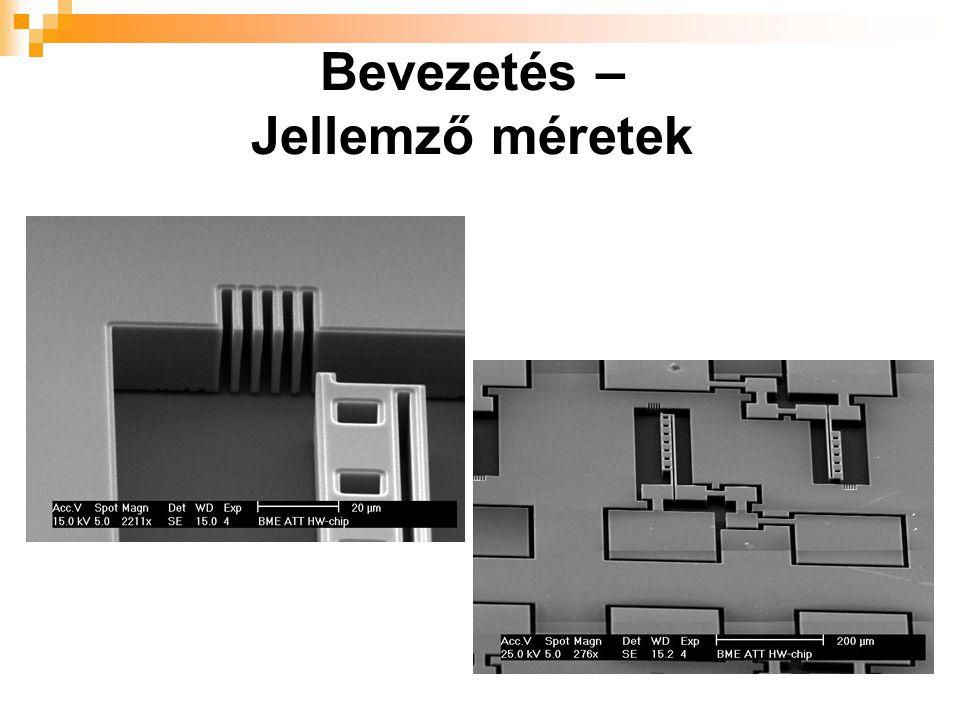 Bevezetés – Tervezési nehézségek mechanikai + elektromos funkció  megoldandó mechanikai/statikai egyenletek  forgó, mozgó, hidas szerkezetek  FEM/BEM szükségessége CMOS-sal szemben itt minden gyár másfajta megoldást kínál  lényegesen kevesebb alternatíva  nincsenek kiforrott tervezési metodikák kis hiba (pl.: törés, letapadás) is teljes zavart okozhat