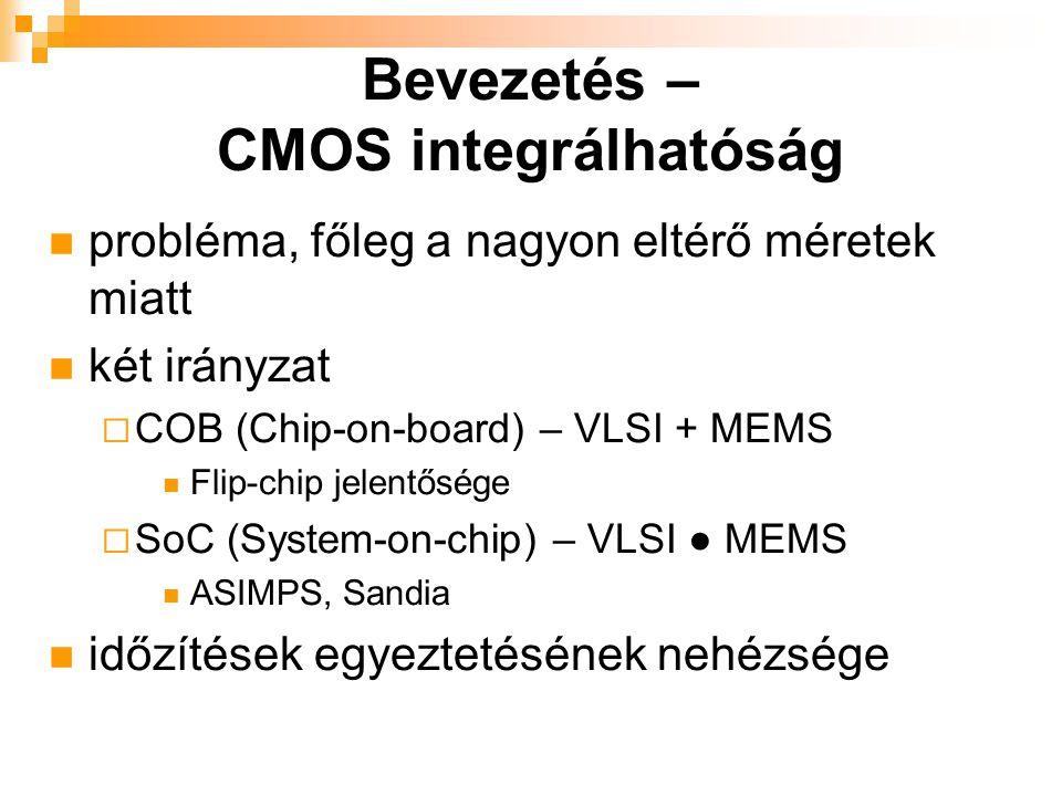probléma, főleg a nagyon eltérő méretek miatt két irányzat  COB (Chip-on-board) – VLSI + MEMS Flip-chip jelentősége  SoC (System-on-chip) – VLSI ● MEMS ASIMPS, Sandia időzítések egyeztetésének nehézsége Bevezetés – CMOS integrálhatóság