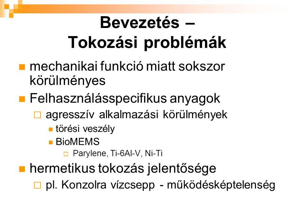Bevezetés – Tokozási problémák mechanikai funkció miatt sokszor körülményes Felhasználásspecifikus anyagok  agresszív alkalmazási körülmények törési veszély BioMEMS  Parylene, Ti-6Al-V, Ni-Ti hermetikus tokozás jelentősége  pl.