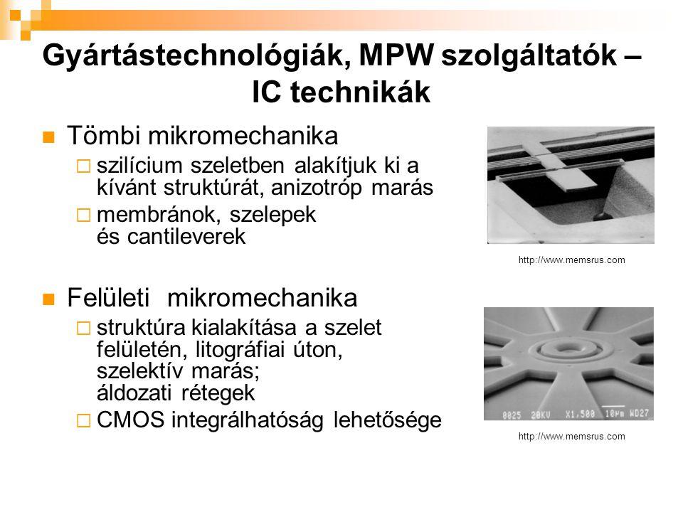 Gyártástechnológiák, MPW szolgáltatók – IC technikák Tömbi mikromechanika  szilícium szeletben alakítjuk ki a kívánt struktúrát, anizotróp marás  membránok, szelepek és cantileverek Felületi mikromechanika  struktúra kialakítása a szelet felületén, litográfiai úton, szelektív marás; áldozati rétegek  CMOS integrálhatóság lehetősége http://www.memsrus.com
