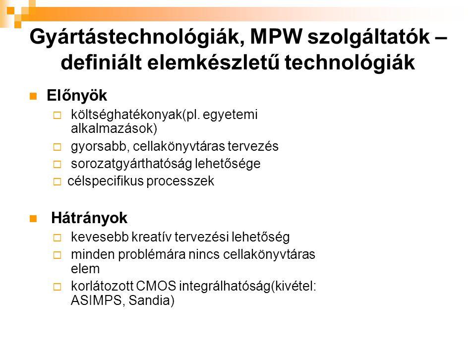 Gyártástechnológiák, MPW szolgáltatók – definiált elemkészletű technológiák Előnyök  költséghatékonyak(pl. egyetemi alkalmazások)  gyorsabb, cellakö