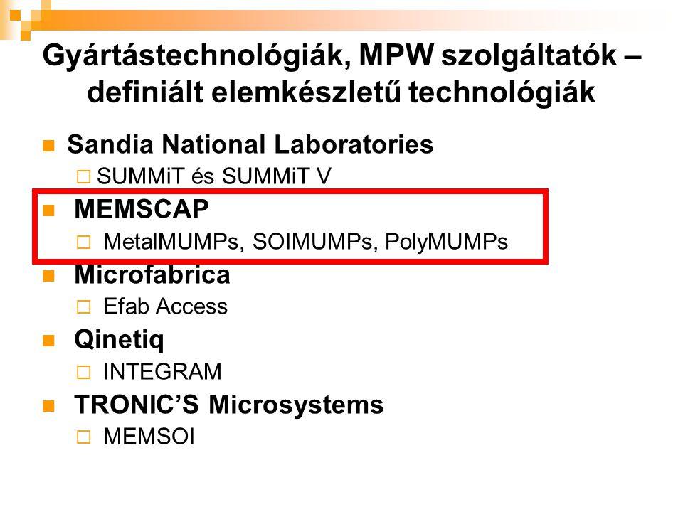 Gyártástechnológiák, MPW szolgáltatók – definiált elemkészletű technológiák MetalMUMPs nikkel galvanizálás eredetileg MEMS kapcsolók és relék gyártásához készült a polySi ellenállásként, vagy veztékként funkcionál kis ellenállású kontaktusok, aranyozás miatt SOIMUMPs SOI(Silicon-on- Insulator) technológia elektrosztatikus, termikus aktuátorok eredetileg optikai csillapítókhoz és mozgó tükrökhöz készült finom és durva fémréteg szilícium a szerkezeti rétege PolyMUMPs polikristályos szilícium a szerkezeti anyag CaMEL elemkönyvtár ipari standard széles szoftvertámogatás változatos struktúrák, univerzális technológia MUMPs = Multi-User MEMS Process
