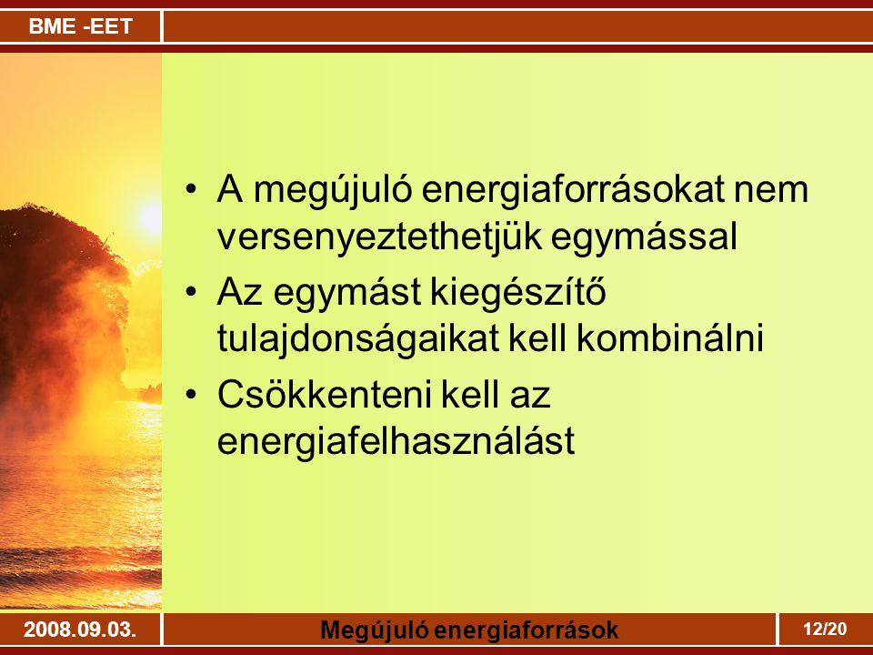 BME -EET Megújuló energiaforrások 2008.09.03. 12/20 A megújuló energiaforrásokat nem versenyeztethetjük egymással Az egymást kiegészítő tulajdonságaik