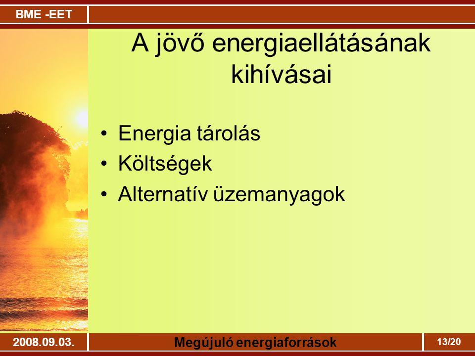 BME -EET Megújuló energiaforrások 2008.09.03. 13/20 A jövő energiaellátásának kihívásai Energia tárolás Költségek Alternatív üzemanyagok