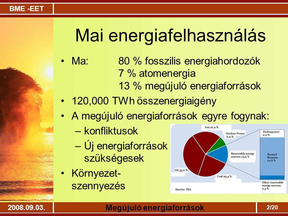 BME -EET Megújuló energiaforrások 2008.09.03. 2/20 Mai energiafelhasználás Ma: 80 % fosszilis energiahordozók 7 % atomenergia 13 % megújuló energiafor