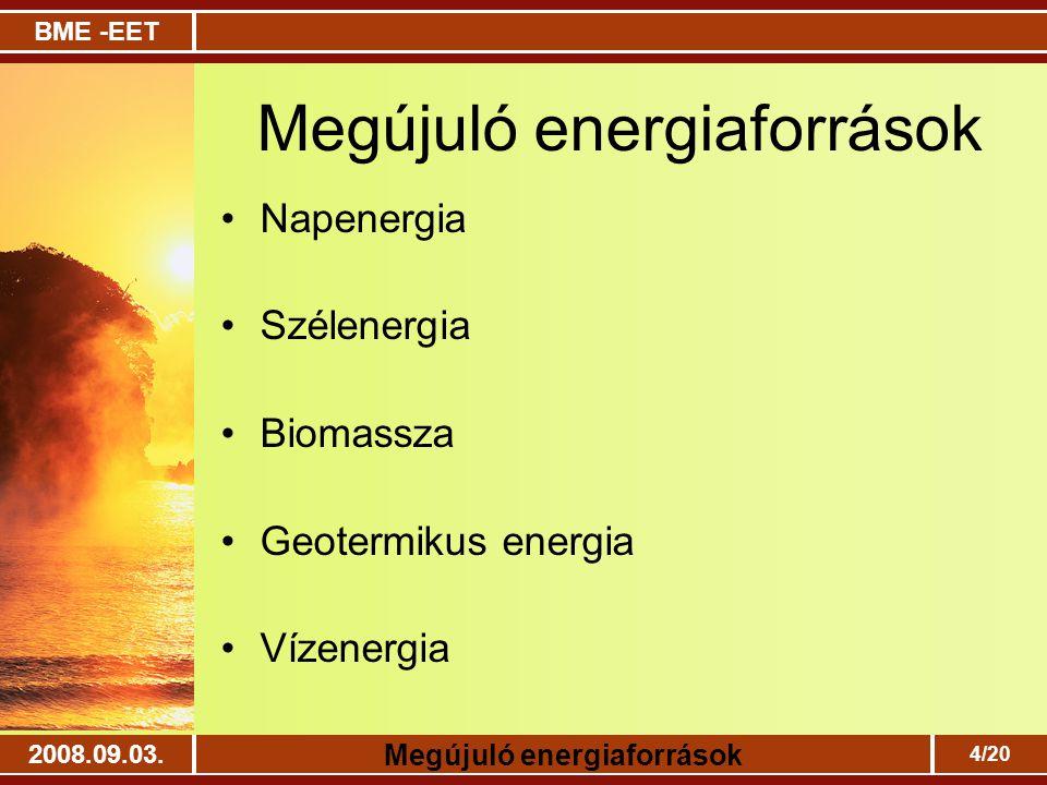 BME -EET Megújuló energiaforrások 2008.09.03. 4/20 Megújuló energiaforrások Napenergia Szélenergia Biomassza Geotermikus energia Vízenergia