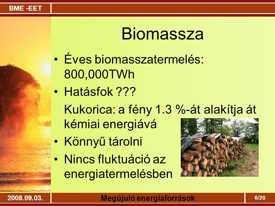 BME -EET Megújuló energiaforrások 2008.09.03. 6/20 Biomassza Éves biomasszatermelés: 800,000TWh Hatásfok ??? Kukorica: a fény 1.3 %-át alakítja át kém