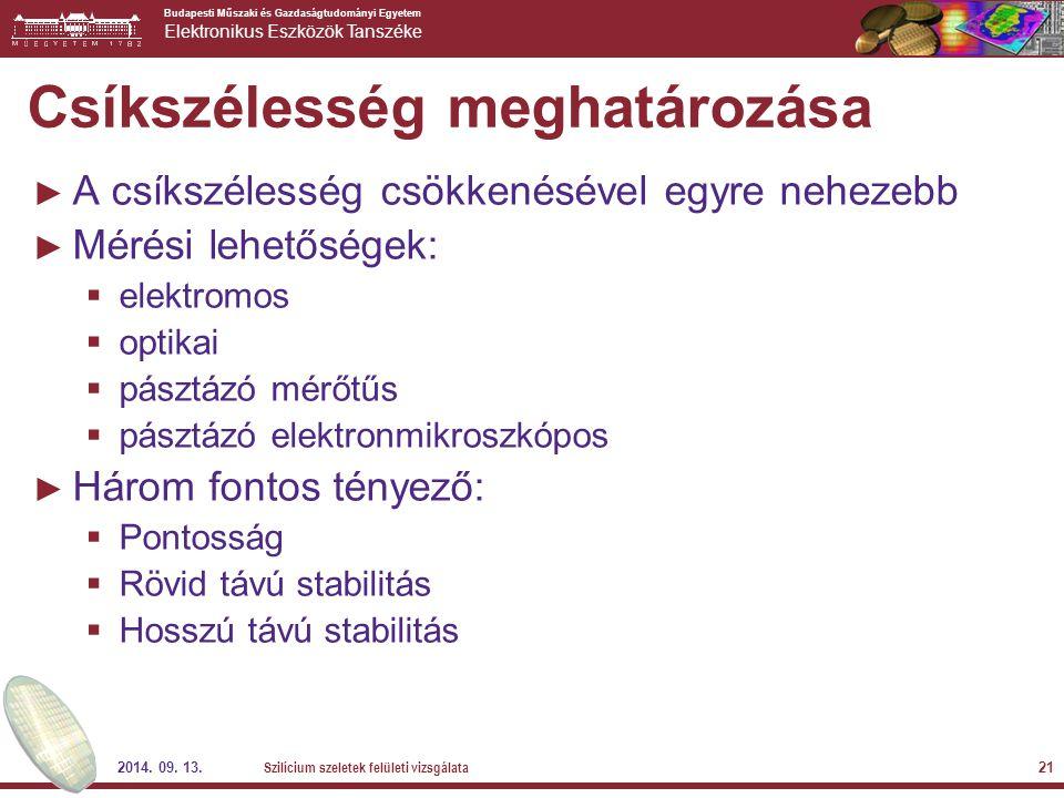 Budapesti Műszaki és Gazdaságtudományi Egyetem Elektronikus Eszközök Tanszéke 2014. 09. 13. Szilícium szeletek felületi vizsgálata 21 Csíkszélesség me