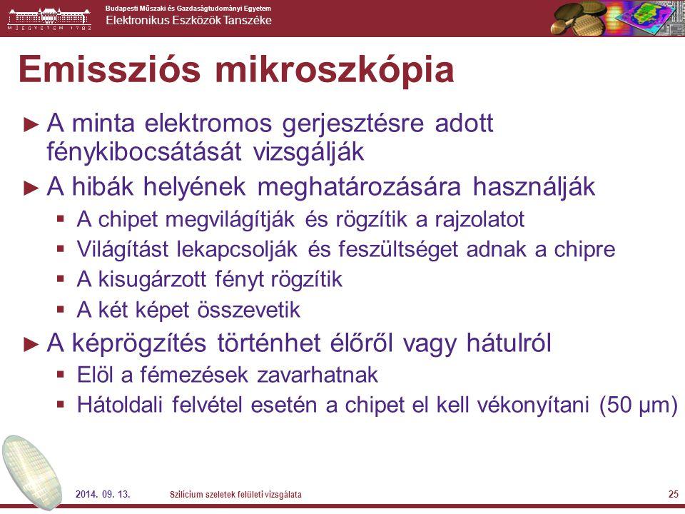 Budapesti Műszaki és Gazdaságtudományi Egyetem Elektronikus Eszközök Tanszéke 2014. 09. 13. Szilícium szeletek felületi vizsgálata 25 Emissziós mikros