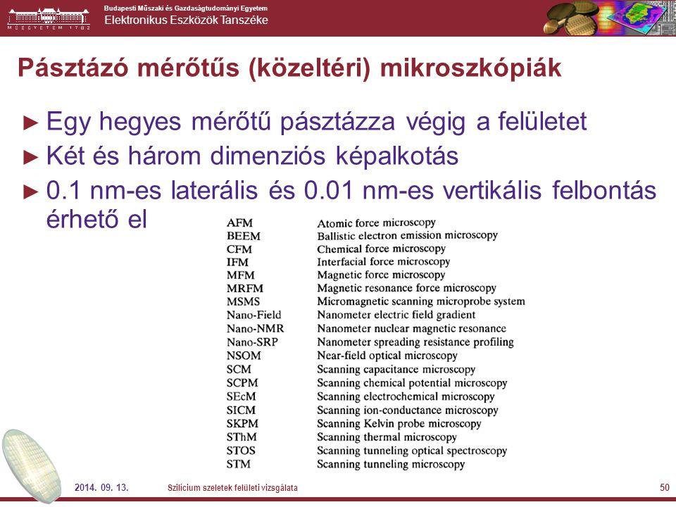 Budapesti Műszaki és Gazdaságtudományi Egyetem Elektronikus Eszközök Tanszéke 2014. 09. 13. Szilícium szeletek felületi vizsgálata 50 Pásztázó mérőtűs
