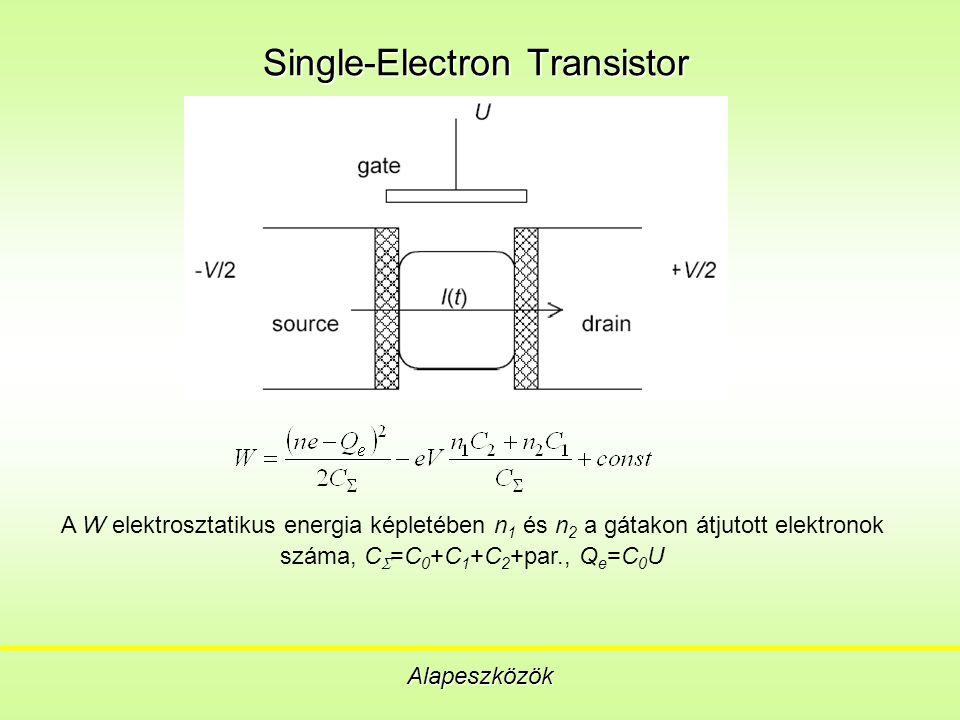 Single-Electron Transistor Alapeszközök A W elektrosztatikus energia képletében n 1 és n 2 a gátakon átjutott elektronok száma, C  =C 0 +C 1 +C 2 +par., Q e =C 0 U