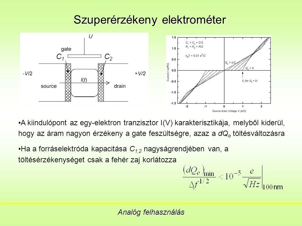 Szuperérzékeny elektrométer Analóg felhasználás A kiindulópont az egy-elektron tranzisztor I(V) karakterisztikája, melyből kiderül, hogy az áram nagyon érzékeny a gate feszültségre, azaz a dQ e töltésváltozásra Ha a forráselektróda kapacitása C 1,2 nagyságrendjében van, a töltésérzékenységet csak a fehér zaj korlátozza C 1 C 2