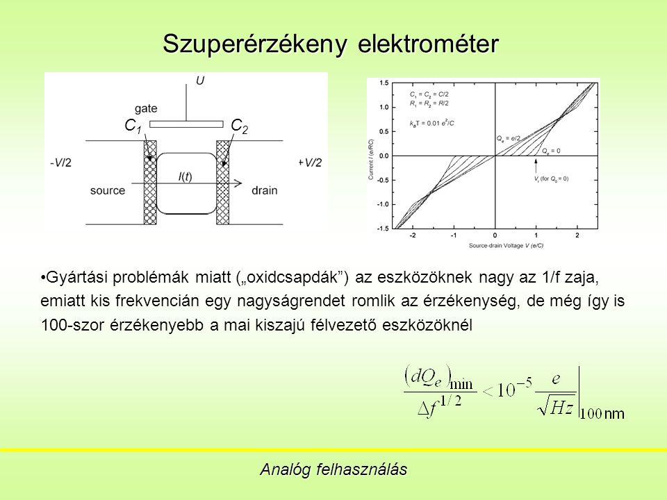 """Szuperérzékeny elektrométer Analóg felhasználás Gyártási problémák miatt (""""oxidcsapdák ) az eszközöknek nagy az 1/f zaja, emiatt kis frekvencián egy nagyságrendet romlik az érzékenység, de még így is 100-szor érzékenyebb a mai kiszajú félvezető eszközöknél C 1 C 2"""