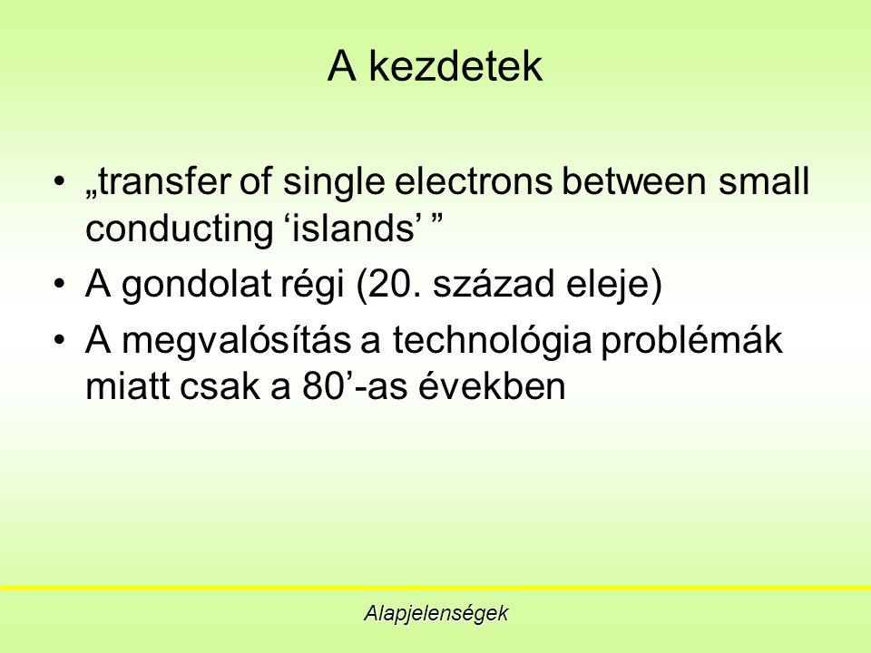 Feszültségállapotos logikák Digitális alkalmazás Az egy-elektron tranzisztor FET-hez hasonló felhasználása A CMOS logikák lemásolhatóak, bár nem egy az egyben, hiszen csak egyféle eszköz van A működést erősen korlátozza a termikus fluktuáció, amint kT=0.01E a A szigetszám növelésével a zaj csökkenthető, de még így is 1 nm alatti átmérő kell a szobahőmérsékleti működéshez Van statikus fogyasztás, amely szobahőmérsékleten 10 -7 W/tranzisztor disszipációt eredményez.