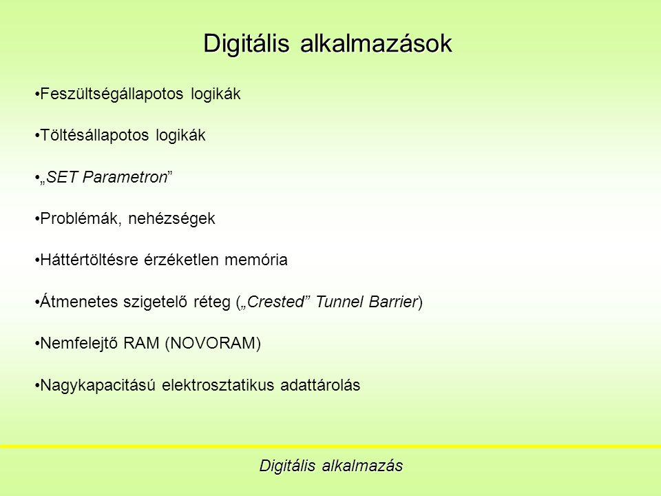 """Digitális alkalmazások Digitális alkalmazás Feszültségállapotos logikák Töltésállapotos logikák """"SET Parametron Problémák, nehézségek Háttértöltésre érzéketlen memória Átmenetes szigetelő réteg (""""Crested Tunnel Barrier) Nemfelejtő RAM (NOVORAM) Nagykapacitású elektrosztatikus adattárolás"""