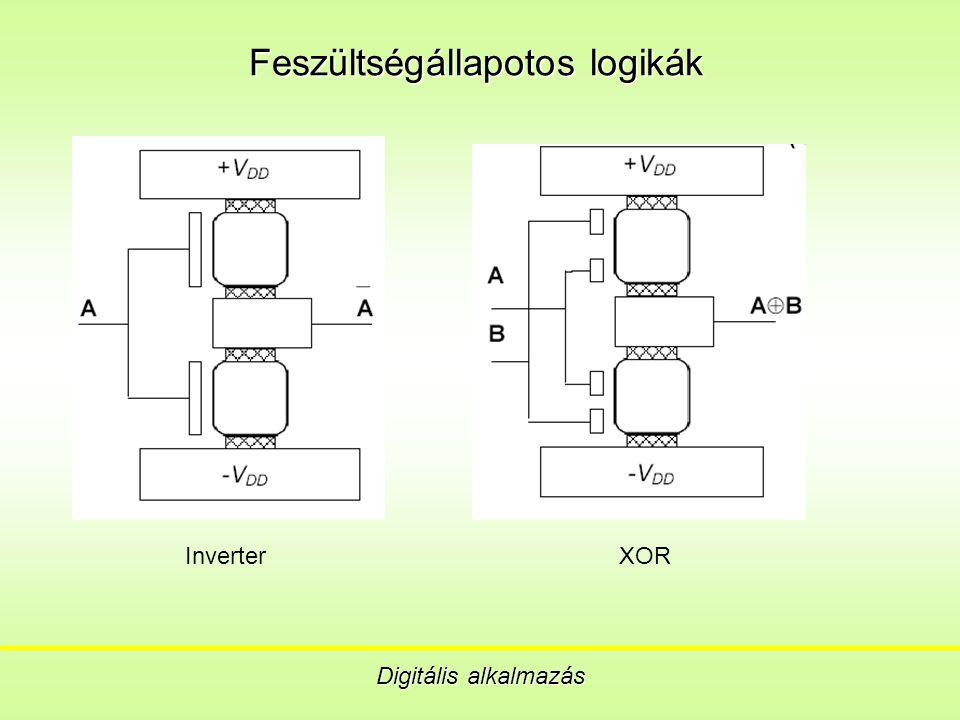Feszültségállapotos logikák Digitális alkalmazás Inverter XOR