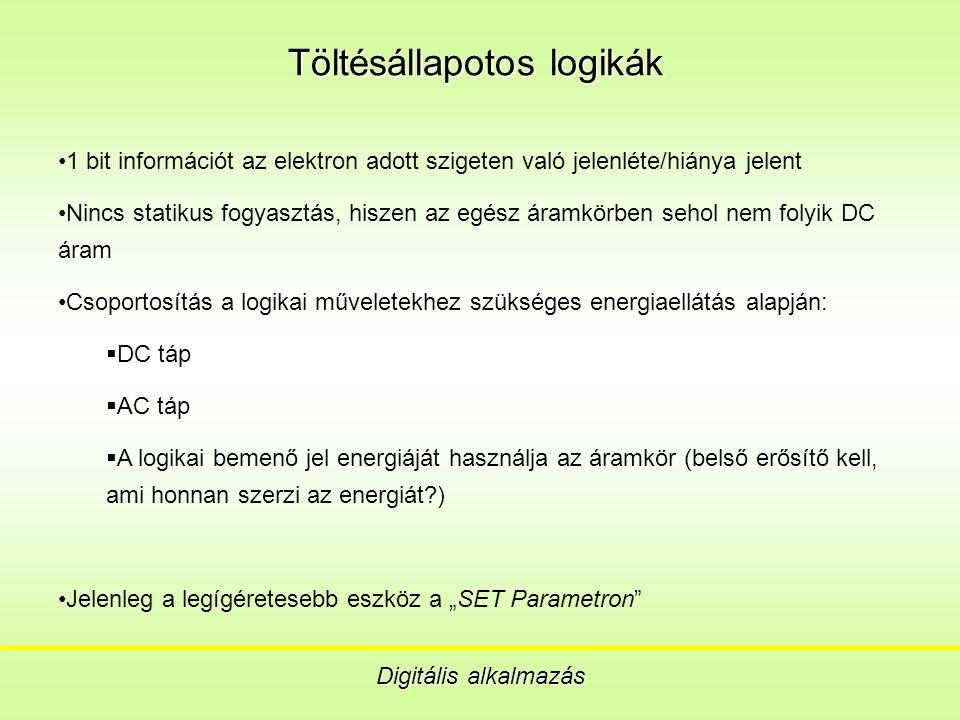 """Töltésállapotos logikák Digitális alkalmazás 1 bit információt az elektron adott szigeten való jelenléte/hiánya jelent Nincs statikus fogyasztás, hiszen az egész áramkörben sehol nem folyik DC áram Csoportosítás a logikai műveletekhez szükséges energiaellátás alapján:  DC táp  AC táp  A logikai bemenő jel energiáját használja az áramkör (belső erősítő kell, ami honnan szerzi az energiát ) Jelenleg a legígéretesebb eszköz a """"SET Parametron"""