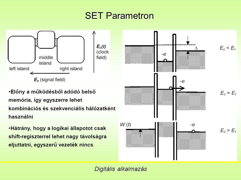 SET Parametron Digitális alkalmazás Előny a működésből adódó belső memória, így egyszerre lehet kombinációs és szekvenciális hálózatként használni Hátrány, hogy a logikai állapotot csak shift-regiszterrel lehet nagy távolságra eljuttatni, egyszerű vezeték nincs