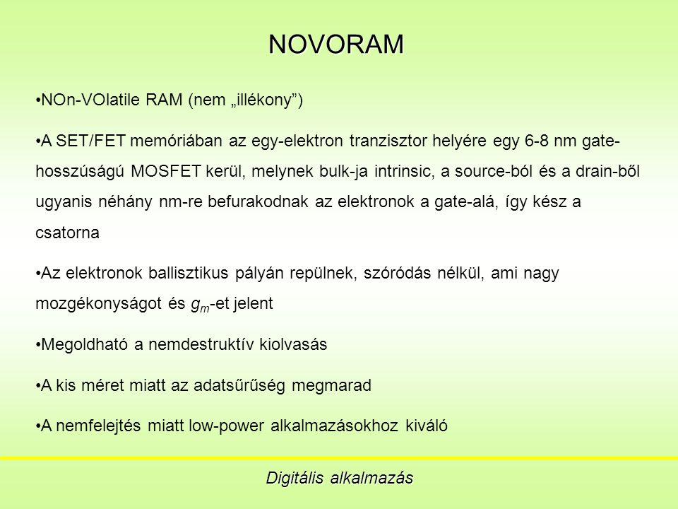"""NOVORAM Digitális alkalmazás NOn-VOlatile RAM (nem """"illékony ) A SET/FET memóriában az egy-elektron tranzisztor helyére egy 6-8 nm gate- hosszúságú MOSFET kerül, melynek bulk-ja intrinsic, a source-ból és a drain-ből ugyanis néhány nm-re befurakodnak az elektronok a gate-alá, így kész a csatorna Az elektronok ballisztikus pályán repülnek, szóródás nélkül, ami nagy mozgékonyságot és g m -et jelent Megoldható a nemdestruktív kiolvasás A kis méret miatt az adatsűrűség megmarad A nemfelejtés miatt low-power alkalmazásokhoz kiváló"""