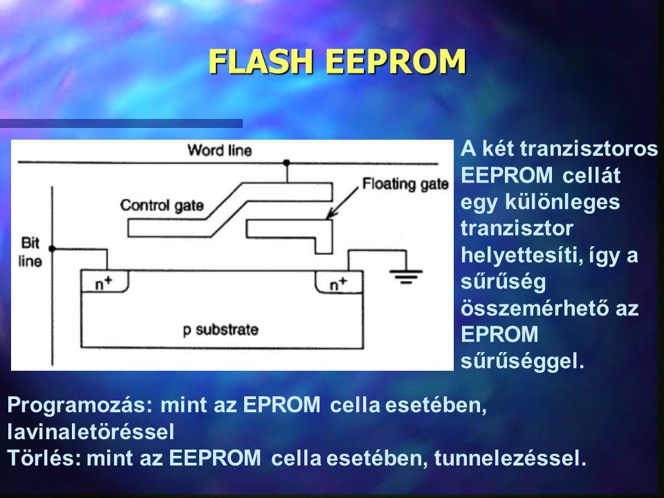 FLASH EEPROM A két tranzisztoros EEPROM cellát egy különleges tranzisztor helyettesíti, így a sűrűség összemérhető az EPROM sűrűséggel. Programozás: m
