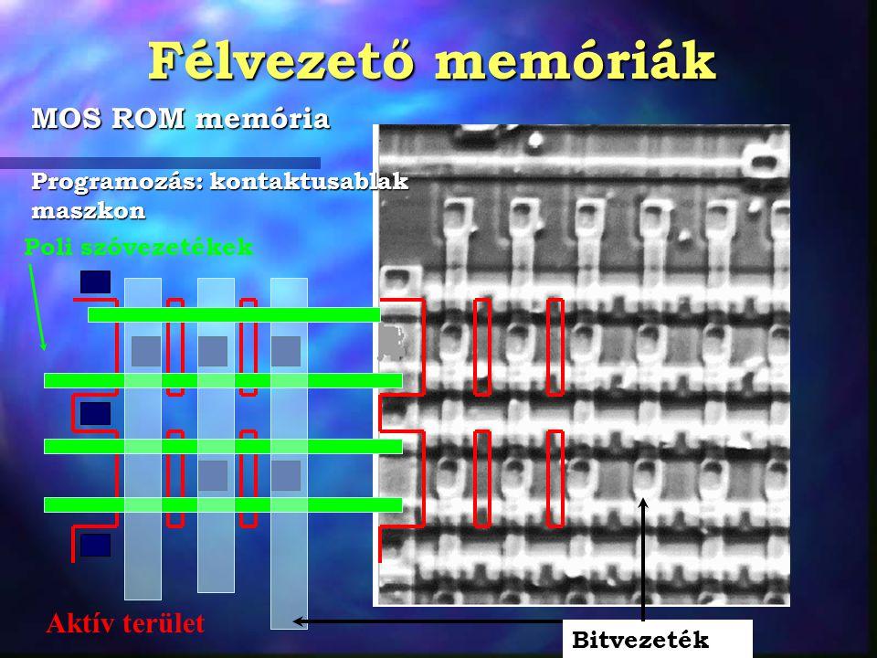 Félvezető memóriák MOS ROM memória Poli szóvezetékek Bitvezeték Aktív terület Programozás: kontaktusablak maszkon