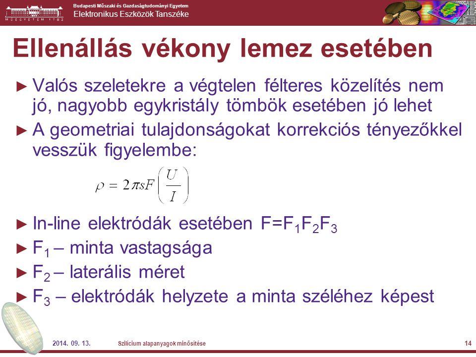 Budapesti Műszaki és Gazdaságtudományi Egyetem Elektronikus Eszközök Tanszéke 2014. 09. 13. Szilícium alapanyagok minősítése 14 Ellenállás vékony leme