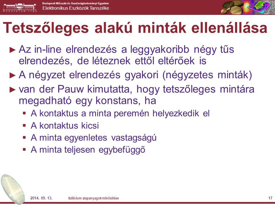 Budapesti Műszaki és Gazdaságtudományi Egyetem Elektronikus Eszközök Tanszéke 2014. 09. 13. Szilícium alapanyagok minősítése 17 Tetszőleges alakú mint