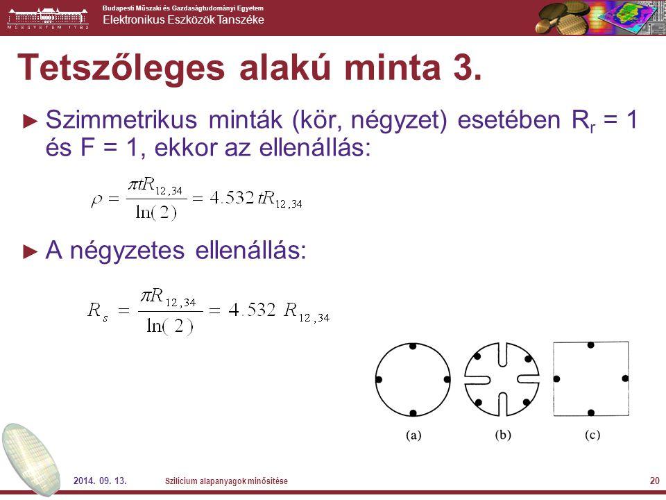Budapesti Műszaki és Gazdaságtudományi Egyetem Elektronikus Eszközök Tanszéke 2014. 09. 13. Szilícium alapanyagok minősítése 20 Tetszőleges alakú mint