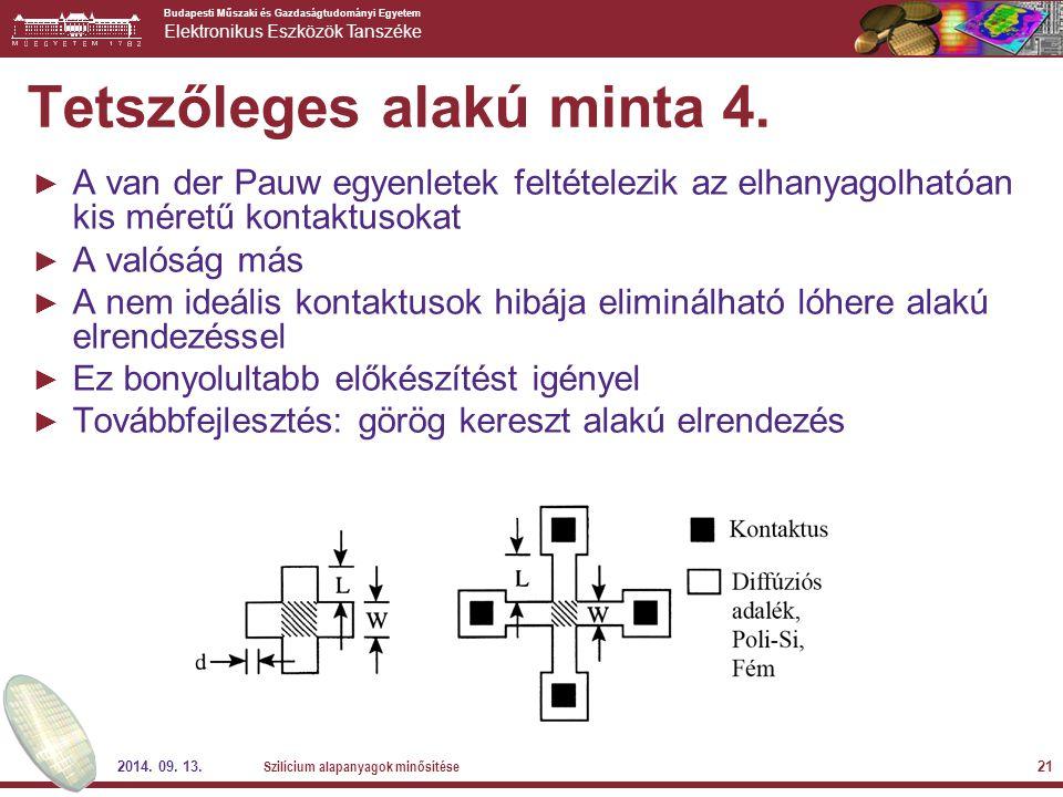 Budapesti Műszaki és Gazdaságtudományi Egyetem Elektronikus Eszközök Tanszéke 2014. 09. 13. Szilícium alapanyagok minősítése 21 Tetszőleges alakú mint