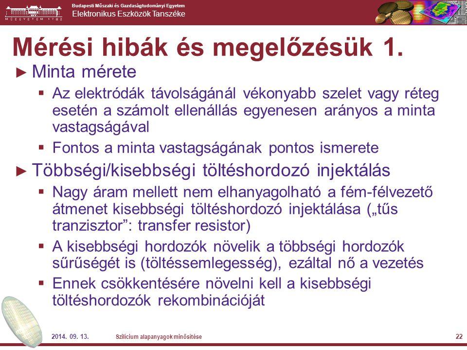 Budapesti Műszaki és Gazdaságtudományi Egyetem Elektronikus Eszközök Tanszéke 2014. 09. 13. Szilícium alapanyagok minősítése 22 Mérési hibák és megelő