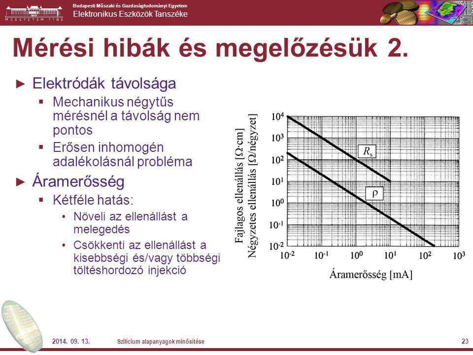 Budapesti Műszaki és Gazdaságtudományi Egyetem Elektronikus Eszközök Tanszéke 2014. 09. 13. Szilícium alapanyagok minősítése 23 Mérési hibák és megelő