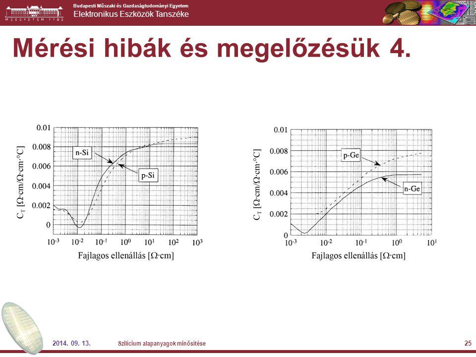 Budapesti Műszaki és Gazdaságtudományi Egyetem Elektronikus Eszközök Tanszéke 2014. 09. 13. Szilícium alapanyagok minősítése 25 Mérési hibák és megelő