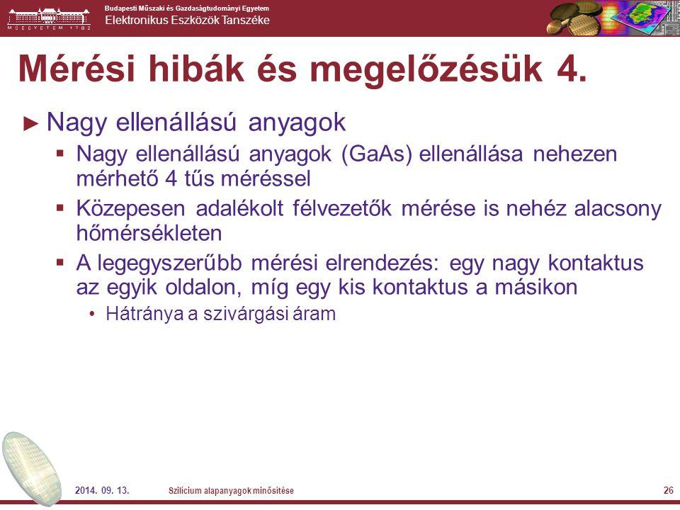 Budapesti Műszaki és Gazdaságtudományi Egyetem Elektronikus Eszközök Tanszéke 2014. 09. 13. Szilícium alapanyagok minősítése 26 Mérési hibák és megelő