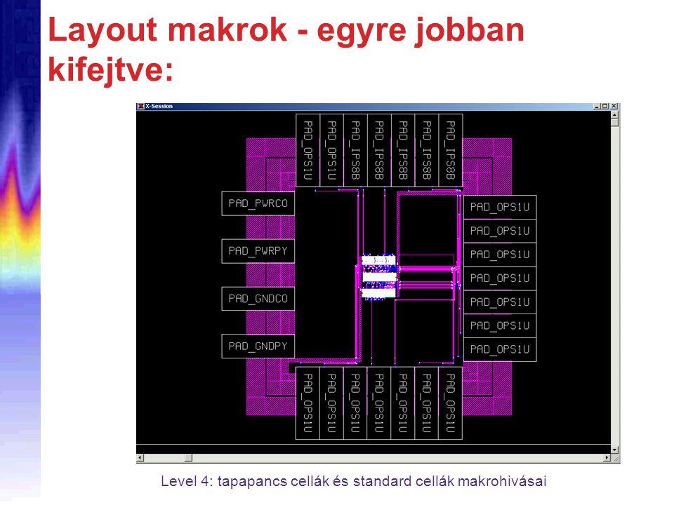 Layout makrok - egyre jobban kifejtve: Level 4: tapapancs cellák és standard cellák makrohivásai