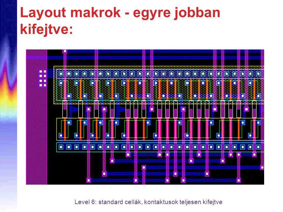 Layout makrok - egyre jobban kifejtve: Level 6: standard cellák, kontaktusok teljesen kifejtve
