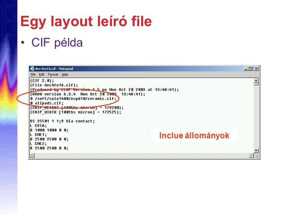 Egy layout leíró file CIF példa Inclue állományok