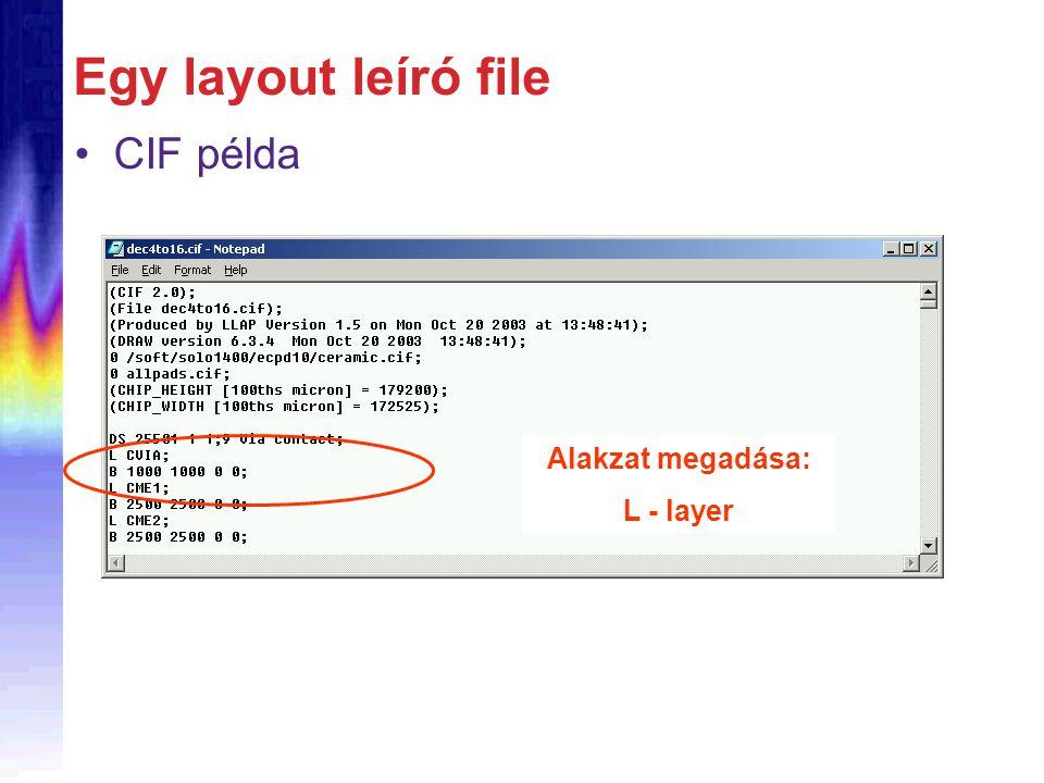 Egy layout leíró file CIF példa Alakzat megadása: L - layer