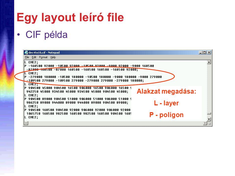 Egy layout leíró file CIF példa Alakzat megadása: L - layer P - poligon