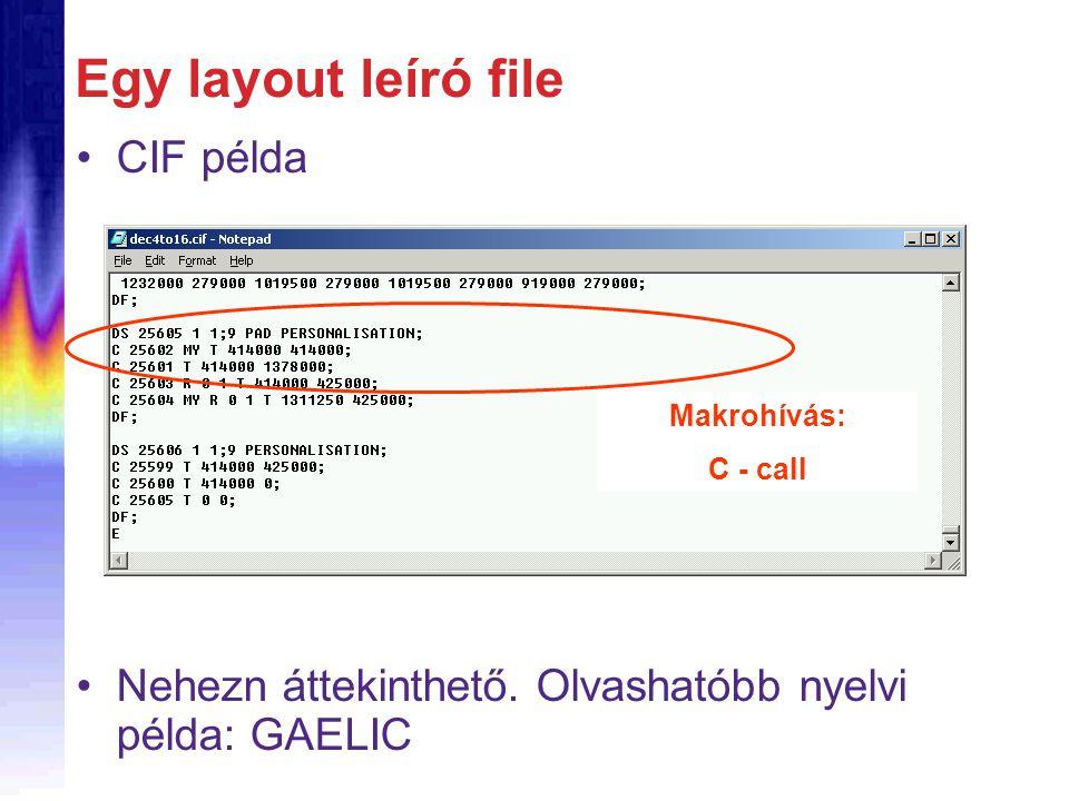 Egy layout leíró file CIF példa Nehezn áttekinthető.